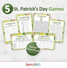 Printable St. Patrick's Day Games Bundle, Instant Download