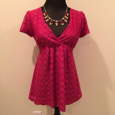 Cute H&M lace empire waist top. SZ S Adorable.  This is a bright pink magenta color.  Size small.  Ties at the back of the waist.  No flaws, smoke free home. No holds or trades. #H&M H&M Tops Blouses