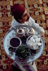 MOROCCO. Marrakech 1988.  Morocco Tea Serving.