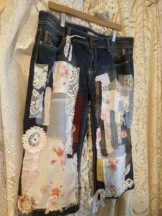 Chic Clothing, Upcycled Clothing, Shabby Chic Outfits, Dandelion Wall Art, Remake Clothes, Capri Jeans, Chic Dress, Vintage Lace, Blue Jeans