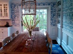 LOVE, LOVE, LOVE the look of blue and white wallpaper in these gorgeous kitchens.        Design by Jill Unger, via quadrillefabrics.com     ...