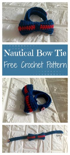 Free Crochet Pattern: Nautical Bowtie  A quick and easy crochet project that you can complete within an hour.