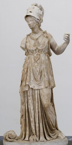Statue of Minerva. Roman artwork of the Imperial era.2nd century AD, made of white marble.