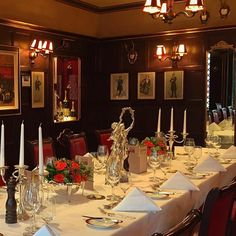 Echoes of London's Edwardian past here at a private dining room in Rules, the city's oldest restaurant, open since Winter Holiday Destinations, Private Dining Room, Winter Holidays, Table Settings, Colours, Restaurant, Instagram Posts, Collection, Winter Vacations