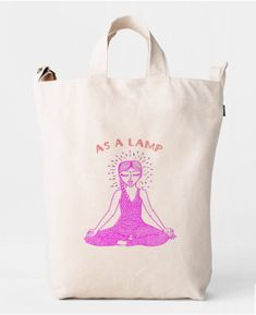 Meet La Kundalinera. A girl who's favorite practice is Kundalini Yoga and her days go by between Pranayamas, Kriyas, Mantra singing, and dancing… Her leotard is made out of scales, like those of the Kundalini:.  This bag makes a great Yoga Bag and who better than La Kundalinera to go to practice with?  Yoga girl illustrated in front practicing a Pranayama exercise.  On the back, Bhagavad Gita Verse 19, Chapter 6: As a lamp Kundalini Yoga, Pranayama, Bag Making, Making Out, Yoga Bag, Bhagavad Gita, Reusable Bags, Basic Colors, Mantra