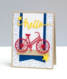 Card with bicycle bike bikecard - scripty hello - stars - MFT blueprints 13 Die-namics - banners Hand Made Greeting Cards, Making Greeting Cards, Simple Birthday Cards, Handmade Birthday Cards, Impression Obsession Cards, Bicycle Cards, Bee Cards, Beautiful Handmade Cards, Get Well Cards