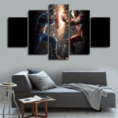 Style Your Home Today With This Amazing 5 Panel Framed Captain America Vs Iron Man Wall Canvas Art For $99.00  Discover more canvas selection here http://www.octotreasures.com  If you want to create a customized canvas by printing your own pictures or photos, please contact us.