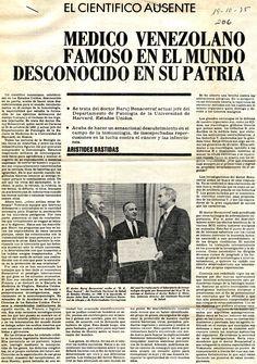 Médico venezolano reconocido en el mundo desconocido en su patria. Publicado el 19 de octubre de 1975.
