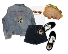 """""""Thrashhh"""" by lucyngandwe ❤ liked on Polyvore featuring Nobody Denim and Vans"""