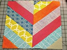 "Bijou Lovely: herringbone block tutorial. You will need: 14 strips of fabric, 2.5"" x 11"" long (this is a great use of scraps or a jelly roll!) 6.5"" x 24"" ruler, or a template of a rectangle, 6.5"" x 12.5"". Note: all seam allowances are 1/4""."