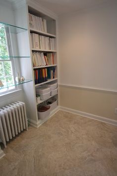 Glass Shelves In Front Of Window Design Ideas, Pictures, Remodel, and Decor