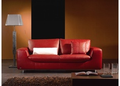Jody - Modern Sofa Upholstered in Red Leather