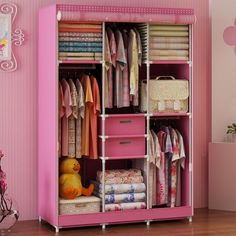 Generic Large Portable Cartoon Dustproof Wardrobe Reinforced Bold Closet for Kids Double Cabinet+Free 2 Storage Boxes