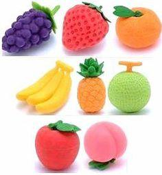 Scented Erasers Fun Stationery Set Of 6 orange strawberry blueberry apple grape