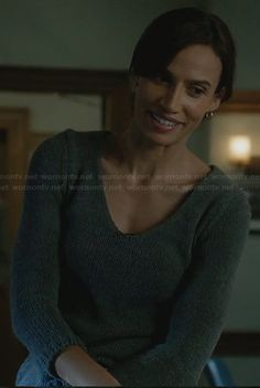 Tess's grey sweater with crochet back on Beauty and the Beast. Outfit Details: http://wornontv.net/27830/ #BeautyandtheBeast