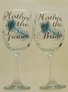 Wine Glass  Pecock Theme Personalized with by PolkaDottedSunflower, $9.00