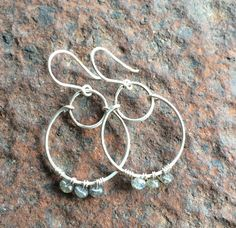 Hand Hammered Sterling Silver Hoops with Labradorite on Etsy, $38.00