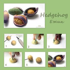 """Hedgehog"" bead. textured. polymer clay. By Victoria Mkhitarian. tutorial."