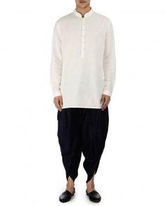 Navy Blue Silk Dhoti Pants by Tarun Tahiliani