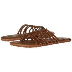 Billabong Beach Braidz Sandal (Desert Daze) Women's Sandals ($30) ❤ liked on Polyvore featuring shoes, sandals, beach sandals, leather upper shoes, synthetic shoes, long shoes and billabong sandals