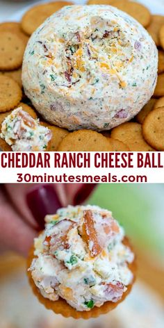 Cheddar Ranch Cheese Ball is the perfect Holiday appetizer made of cheddar cheese, ranch seasoning, and obviously bacon! #cheddar #cheese #cheeseball #appetizer #fingerfood #30minutesmeals