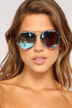 Cutting Edge Sunglasses - Silver/Blue