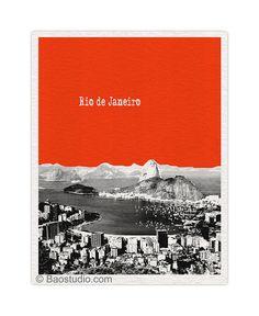 Rio de Janeiro Brazil Art Print - 8x10 World Traveler Series Pop Art Print City Skyline - Available in 56 Colors - BR025