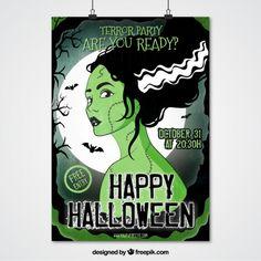 Zombie character woman poster  Premium Vector
