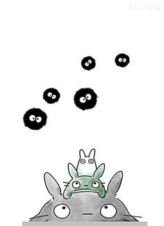 totoro, his underlings and soot sprites, which together form the trifecta of anime awesomeness.