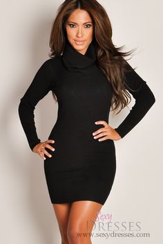Designer Black Long-Sleeve Turtleneck Sweater Dress.. Omg! I can't believe how cheap the dresses are on this site!! LOVE