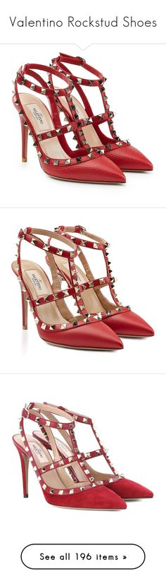"""""""Valentino Rockstud Shoes"""" by sakuragirl ❤ liked on Polyvore featuring shoes, pumps, heels, valentino, sapatos, red, red heel shoes, red heel pumps, red pumps and real leather shoes"""