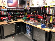 Metal Pegboard Standard Tool Storage Kit - Black Toolboard with Hooks - Workbench Heaven! This new, well organized workspace is opened for business! The Wall Control Pegbo - Pegboard Garage, Metal Pegboard, Garage Storage Shelves, Garage Storage Solutions, Garage Tools, Garage Shop, Garage Organization, Pegboard Display, Kitchen Pegboard