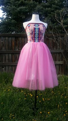 Strapless pendleton bodice with pink tulle. Made by Della Bighair-Stump ~ owner / designer of Designs by Della♡ from the Crow Nation of Montana.