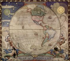 sealmaiden:    N. C. Wyeth  Western Hemisphere Map1929
