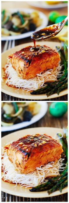 Asian salmon with rice noodles and asparagus Ingredients Salmon: 2 tablespoons sesame oil 3 tablespoons honey 4 tablespoons soy sauce (if you want to make this dish gluten-free, make sure to use gluten-free soy sauce, not a regular one) 4 tablespoons rice vinegar 4 cloves fresh garlic, minced a pinch of ginger (powdered) 1 and …Continue reading...