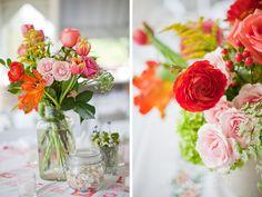 Spring flower centerpieces in antique jars (www.kristynhogan.com)