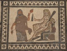 Hercules and Omphale, central panel of the Mosaic with the Labors of Hercules, 3rd century AD, found in Llíria (Valencia), National Archaeological Museum of Spain, Madrid