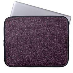 Dark pink faux glitter laptop sleeve - glitter glamour brilliance sparkle design idea diy elegant