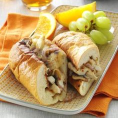 Cheesy Chicken Subs Recipe- Recipes  A 33 year member of the Food Services staff at Appalachian State University shared her story: One summer we created this flavorful sandwich that combines seasoned grilled chicken, Swiss cheese and sauteed mushrooms and onions. Thousands of students have enjoyed this wonderful sub since then. -Jane Hollar, Vilas, North Carolina