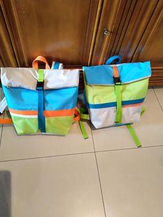 Duo de sacs à dos Troïka bleu, vert et orange cousus par Marie-Thérèse - Patron Sacôtin
