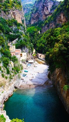 Secluded beach in Furore on the Amalfi coast of Italy