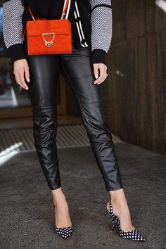 c0d8a39ada7c2 coccinelle arlettis red suede bag and polka dot high heels Lederhosen