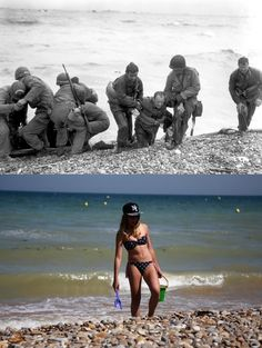 D-Day photos from 1944 and photos of vacationers at the exact same locations today [28 pics] | 22 Words