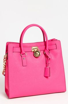 Michael By Michael Kors Pink Hamilton Large Saffiano Leather Tote