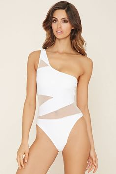 3d76440a5eb22 FOREVER 21 Mesh One-Shoulder One-Piece Monokini, 1 Piece Swimsuit, One