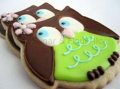 WHOO WHOO OWL Sugar Cookie Party Favors 1 Dozen by sugarandflour
