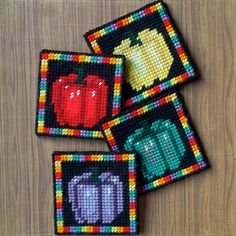 Plastic Canvas: Colorful Peppers Coasters set by ReadySetSewbyEvie