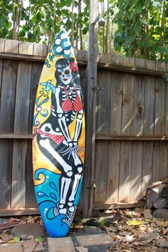 RIP Betty Page- by Jennie Porter- painted on my surfboard!