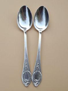 Vintage Russian MMU Serving Spoons Silverplate Flatware Mid Century Lot of 2 #MMU