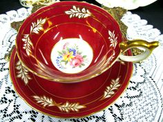 Aynsley Tea Cup And Saucer Athens Shape Red & Floral Pattern Teacup